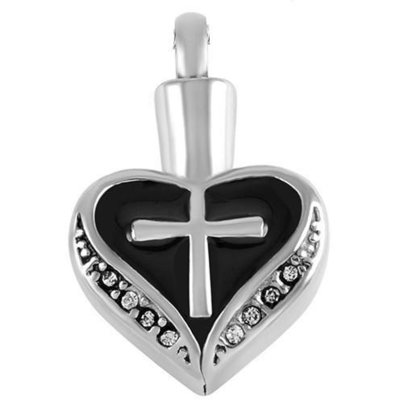 Black Heart Cross Pendant